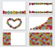 Комплект поздравительных открыток с пасмами пряжи предпосылки шариков Стоковые Изображения