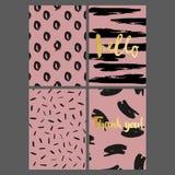 Комплект поздравительных открыток с ходами щетки на розовой предпосылке Стоковое Фото