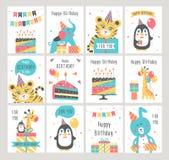 Комплект поздравительой открытки ко дню рождения с днем рождений иллюстрация штока