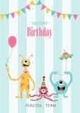 Комплект поздравительых открыток ко дню рождения, плакат, шаблон, поздравительные открытки, животные, изверг, иллюстрации вектора Стоковое фото RF