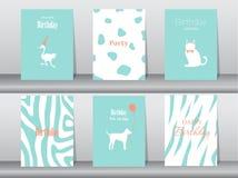 Комплект поздравительых открыток ко дню рождения, плакат, шаблон, поздравительные открытки, торт, птица, иллюстрации вектора Стоковые Фотографии RF