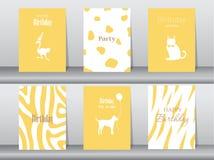 Комплект поздравительых открыток ко дню рождения, плакат, шаблон, поздравительные открытки, торт, птица, иллюстрации вектора Стоковая Фотография