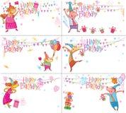 Комплект поздравительых открыток ко дню рождения с днем рождений иллюстрация вектора