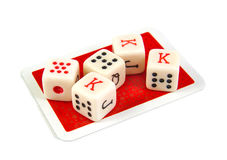 Комплект покера 5 dices на белой предпосылке Стоковое Изображение RF