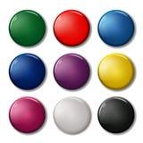 Комплект 9 покрасил вокруг значков магнитов штыря Стоковые Изображения RF