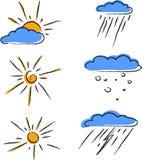 Комплект покрашенной погоды значков плана бесплатная иллюстрация