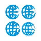 Комплект покрашенных вручную значков глобуса земли Стоковое Изображение