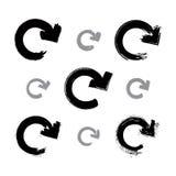 Комплект покрашенных вручную monochrome знаков обновления Стоковое Фото