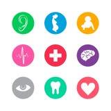 Комплект покрашенных значков на медицинской теме Стоковые Изображения