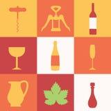 Комплект покрашенных значков с вином Стоковое Изображение