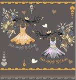 Комплект покрашенных платьев лета с цветочным узором Стоковая Фотография