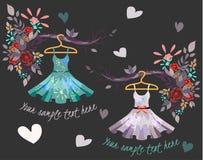 Комплект покрашенных платьев лета с цветочным узором Стоковое Изображение