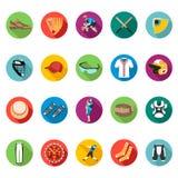 Комплект покрашенных плоских значков бейсбола Стоковые Изображения RF