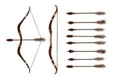 Комплект 2 покрашенных смычков и 9 стрелок изолировано Стоковое Изображение