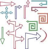 Комплект покрашенных стрелок и указателей контура иллюстрация вектора