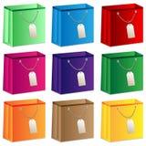 Комплект покрашенных хозяйственных сумок Стоковые Изображения