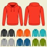 Комплект покрашенных шаблонов hoodies для людей бесплатная иллюстрация