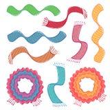 Комплект покрашенных шарфов на белой предпосылке также вектор иллюстрации притяжки corel иллюстрация вектора