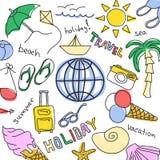 Комплект покрашенных эскизов - летние каникулы на море Стоковые Изображения RF