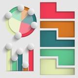 Комплект покрашенных элементов вектора представления диаграмм и диаграмм дела Стоковая Фотография