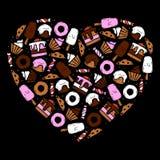 Комплект помадок и еды десерта нарисованных рукой Бесплатная Иллюстрация