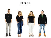 Комплект портрета студии образа жизни жеста людей разнообразия взрослого Стоковое Фото