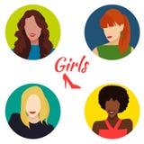 Комплект портретов женщин иллюстрация вектора