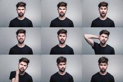Комплект портретов молодого человека с различными эмоциями стоковое фото rf