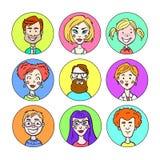 Комплект портретов различных людей иллюстрация штока