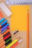 Комплект поставек канцелярских принадлежностей или математики офиса Стоковое Изображение