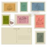 Комплект почтовых значков, открыток и PostageStamps дела Стоковые Фотографии RF
