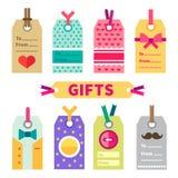 Комплект подарка ярлыков и открытки Стоковое Изображение RF