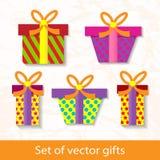 Комплект подарков вектора Стоковое Изображение