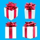 Комплект подарочных коробок на голубой предпосылке Стоковая Фотография