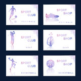 Комплект полигональных картин для кредитных карточек и рогулек Стоковые Изображения