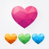 Комплект полигональных красочных сердец Стоковое Изображение
