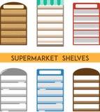 Комплект полок супермаркета Минимальная плоская иллюстрация вектора Стоковые Фотографии RF