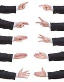 Комплект подсчитанной руки бизнесмена Стоковое Фото
