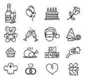 Комплект праздника торжества или значка подарка нарисованный рукой Стоковая Фотография