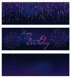 Комплект праздничного фейерверка разрывая в различных формах сверкная на черном векторе конспекта предпосылки изолировал иллюстра Стоковые Фото