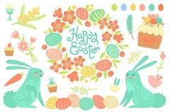 Комплект праздничных украшений для счастливой пасхи Поздравительная надпись, покрашенные яичка, венок цветка, пирожные пасхи бесплатная иллюстрация