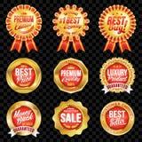 Комплект превосходных качественных красных значков с границей золота Стоковая Фотография