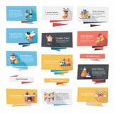 Комплект предпосылки знамени рождества плоский, eps10 Стоковые Изображения