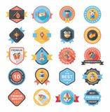 Комплект предпосылки дизайна знамени китайского значка Нового Года плоский, eps10 Стоковые Изображения RF