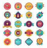 Комплект предпосылки дизайна знамени китайского значка Нового Года плоский, eps10 Стоковое Изображение