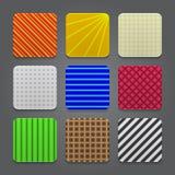 Комплект предпосылки икон App. Лоснистые иконы кнопки паутины. Стоковые Фотографии RF