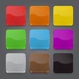 Комплект предпосылки икон App. Лоснистые иконы кнопки паутины. Стоковые Изображения RF
