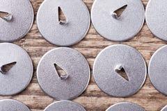Комплект предпосылки макроса взгляд сверху штырей чертежа металла Стоковое Изображение