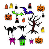 Комплект предпосылки хеллоуина Стоковая Фотография RF
