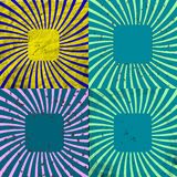 Комплект предпосылки Grunge Sunburst ретро текстурированный Стоковые Изображения RF